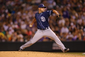 DENVER, CO - AUGUST 14:  Relief pitcher Bud Norris #20 of the San Diego Padres delivers to home plate during the sixth inning against the Colorado Rockies at Coors Field on August 14, 2015 in Denver, Colorado. The Padres defeated the Rockies 9-5. (Photo by Justin Edmonds/Getty Images) *** Local Caption *** Bud Norris