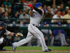 SEATTLE, WA - SEPTEMBER 09:  Shin-Soo Choo #17 of the Texas Rangers strikes out to end the top of the eighth inning against the Seattle Mariners at Safeco Field on September 9, 2015 in Seattle, Washington. The Mariners defeated the Rangers 6-0.  (Photo by Otto Greule Jr/Getty Images)