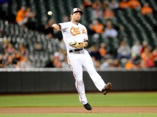BALTIMORE, MD - SEPTEMBER 14: J.J. Hardy #2 of the Baltimore Orioles throws out Rusney Castillo #38 (not pictured) of the Boston Red Sox in the seventh inning at Oriole Park at Camden Yards on September 14, 2015 in Baltimore, Maryland.  (Photo by Greg Fiume/Getty Images)