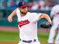 CLEVELAND, OH - SEPTEMBER 17: Starting pitcher Corey Kluber #28 of the Cleveland Indians pitches during the first inning against the Kansas City Royals at Progressive Field on September 17, 2015 in Cleveland, Ohio. (Photo by Jason Miller/Getty Images)
