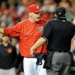 WASHINGTON, DC - SEPTEMBER 23: Manager Matt Williams #9 of the Washington Nationals argues with home plate umpire Mark Ripperger #90 after Jonathan Papelbon (not pictured) was thrown out of the game in the ninth inning against the Baltimore Orioles at Nationals Park on September 23, 2015 in Washington, DC.  (Photo by Greg Fiume/Getty Images)