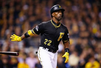 PITTSBURGH, PA - OCTOBER 07:  Andrew McCutchen #22 of the Pittsburgh Pirates reacts after flying out in the fourth inning during the National League Wild Card game against the Chicago Cubs at PNC Park on October 7, 2015 in Pittsburgh, Pennsylvania.  (Photo by Jared Wickerham/Getty Images)