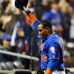 NEW YORK, NY - OCTOBER 12:  Yoenis Cespedes #52 of the New York Mets celebrates with a curtain call after hitting a three run home run against Alex Wood #57 of the Los Angeles Dodgers in the fourth inning during game three of the National League Division Series at Citi Field on October 12, 2015 in New York City.  (Photo by Elsa/Getty Images)