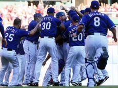 ARLINGTON, TX - OCTOBER 4: The Texas Rangers celebrate winning the AL West title after a baseball game against the Los Angeles Angels at Globe Life Park on October 4, 2015 in Arlington, Texas. Texas won 9-2. (Photo by Brandon Wade/Getty Images)