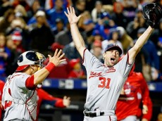 NEW YORK, NY - OCTOBER 03:  Max Scherzer #31 of the Washington Nationals celebrates his no hitter with Wilson Ramos #40 against the New York Mets after their game at Citi Field on October 3, 2015 in New York City.  (Photo by Al Bello/Getty Images)