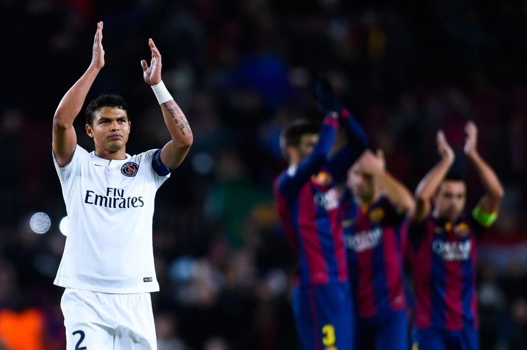 BARCELONA, SPAIN - DECEMBER 10:  Thiago Silva of Paris Saint-Germain FC acknowledges his supporters at the end of the UEFA Champions League group F match between FC Barcelona and Paris Saint-Germanin FC at Camp Nou Stadium on December 10, 2014 in Barcelona, Spain.  (Photo by David Ramos/Getty Images)
