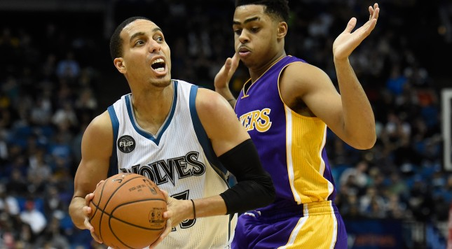 MINNEAPOLIS, MN - DECEMBER 9: D'Angelo Russell #1 of the Los Angeles Lakers defends against Kevin Martin #23 of the Minnesota Timberwolves during the fourth quarter of the game on December 9, 2015 at Target Center in Minneapolis, Minnesota. The Timberwolves defeated the Lakers 123-122 in overtime. NOTE TO USER: User expressly acknowledges and agrees that, by downloading and or using this Photograph, user is consenting to the terms and conditions of the Getty Images License Agreement. (Photo by Hannah Foslien/Getty Images)