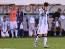EAST RUTHERFORD, NJ - JUNE 26:  Lionel Messi #10 of Argentina reacts after he missed a penalty kick against Chile during the Copa America Centenario Championship match at MetLife Stadium on June 26, 2016 in East Rutherford, New Jersey.Chile defeated Argentina 0-0 with the 4-2 win in the shootout.  (Photo by Elsa/Getty Images)