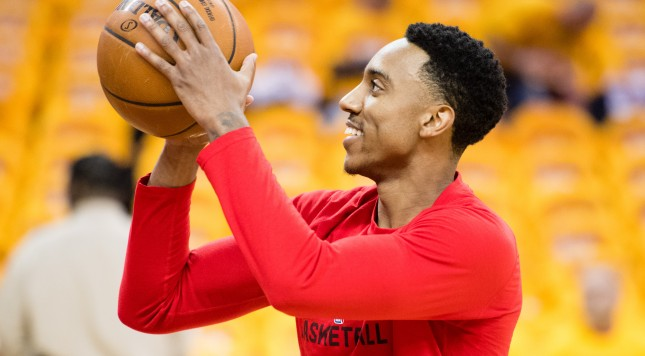 CLEVELAND, OH - MAY 2: Jeff Teague #0 of the Atlanta Hawks warms up prior to the NBA Eastern Conference semifinals against the Cleveland Cavaliers at Quicken Loans Arena on May 2, 2016 in Cleveland, Ohio. NOTE TO USER: User expressly acknowledges and agrees that, by downloading and or using this photograph, User is consenting to the terms and conditions of the Getty Images License Agreement. (Photo by Jason Miller/Getty Images)