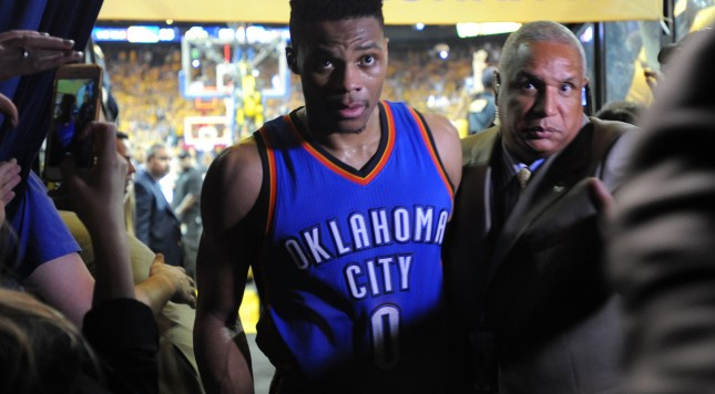 OAKLAND, CA - MAY 30:  Russell Westbrook #0 of the Oklahoma City Thunder walks off the court after being defeated 96-88 by the Golden State Warriors in Game Seven of the Western Conference Finals during the 2016 NBA Playoffs at ORACLE Arena on May 30, 2016 in Oakland, California. NOTE TO USER: User expressly acknowledges and agrees that, by downloading and or using this photograph, User is consenting to the terms and conditions of the Getty Images License Agreement.  (Photo by Robert Reiners/Getty Images)