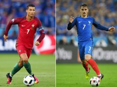 FILE PHOTO - (EDITORS NOTE: COMPOSITE OF TWO IMAGES - Image numbers (L) 540171428 and 544406362) In this composite image a comparision has been made between Cristiano Ronaldo of Portugal (L) and Antoine Griezmann of France. France and Portugal meet in the EURO 2016 Final on July 10, 2016 at the Stade de France in Paris,France.   ***LEFT IMAGE*** SAINT-ETIENNE, FRANCE - JUNE 14: Cristiano Ronaldo of Portugal in action during the UEFA EURO 2016 Group F match between Portugal and Iceland at Stade Geoffroy-Guichard on June 14, 2016 in Saint-Etienne, France. (Photo by Clive Brunskill/Getty Images) ***RIGHT IMAGE*** PARIS, FRANCE - JULY 03: Antoine Griezmann of France in action during the UEFA EURO 2016 quarter final match between France and Iceland at Stade de France on July 3, 2016 in Paris, France. (Photo by Matthias Hangst/Getty Images)