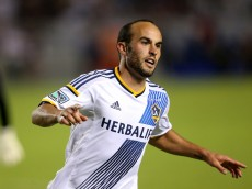 LOS ANGELES, CA - NOVEMBER 09:  Landon Donovan #10 of the Los Angeles Galaxy celebrates after scoring his second goal of the match, in the second half against Real Salt Lake in Leg 2 of the Western Conference Semifinals at StubHub Center on November 9, 2014 in Los Angeles, California.  The Galaxy won 5-0 to advance to the conference finals.  (Photo by Stephen Dunn/Getty Images)