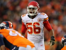DENVER, CO - NOVEMBER 15:  Linebacker Derrick Johnson #56 of the Kansas City Chiefs defends against the Denver Broncos at Sports Authority Field at Mile High on November 15, 2015 in Denver, Colorado. The Chiefs defeated the Broncos 29-13.  (Photo by Doug Pensinger/Getty Images)