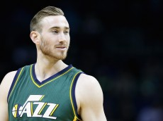 CHARLOTTE, NC - JANUARY 18:  Gordon Hayward #20 of the Utah Jazz watches on during their game against the Charlotte Hornets at Time Warner Cable Arena on January 18, 2016 in Charlotte, North Carolina.  NOTE TO USER: User expressly acknowledges and agrees that, by downloading and or using this photograph, User is consenting to the terms and conditions of the Getty Images License Agreement.  (Photo by Streeter Lecka/Getty Images)