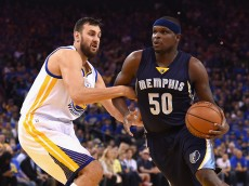 OAKLAND, CA - APRIL 13:  Zach Randolph #50 of the Memphis Grizzlies drives against Andrew Bogut #12 of the Golden State Warriors in the first half during the game at ORACLE Arena on April 13, 2016 in Oakland, California.  (Photo by Thearon W. Henderson/Getty Images)