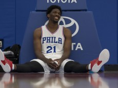 CAMDEN, NJ - SEPTEMBER 26: Joel Embiid #21 of the Philadelphia 76ers sits on the court during media day on September 26, 2016 in Camden, New Jersey. NOTE TO USER: User expressly acknowledges and agrees that, by downloading and or using this photograph, User is consenting to the terms and conditions of the Getty Images License Agreement. (Photo by Mitchell Leff/Getty Images)