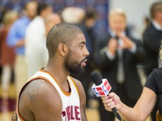 CLEVELAND, OH - SEPTEMBER 26: Kyrie Irving #2 during an interview during media day at Cleveland Clinic Courts on September 26, 2016 in Cleveland, Ohio. NOTE TO USER: User expressly acknowledges and agrees that, by downloading and/or using this photograph, user is consenting to the terms and conditions of the Getty Images License Agreement. Mandatory copyright notice. (Photo by Jason Miller/Getty Images)
