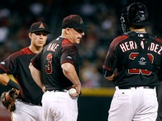 PHOENIX, AZ - OCTOBER 01:  Manager Chip Hale #3 of the Arizona Diamondbacks talks with catcher Oscar Hernandez #28 during a pitching change in the eighth inning of a MLB game against the San Diego Padres at Chase Field on October 1, 2016 in Phoenix, Arizona.  (Photo by Ralph Freso/Getty Images)