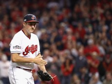 CLEVELAND, OH - OCTOBER 06:  Trevor Bauer #47 of the Cleveland Indians reacts after the fourth inning against the Boston Red Sox during game one of the American League Divison Series at Progressive Field on October 6, 2016 in Cleveland, Ohio.  (Photo by Maddie Meyer/Getty Images)