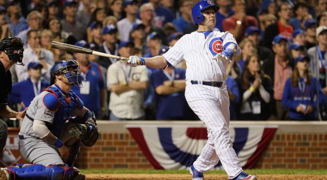CHICAGO, IL - OCTOBER 15:  Miguel Montero #47 of the Chicago Cubs hits a grand slam home run in the eighth inning against the Los Angeles Dodgers during game one of the National League Championship Series at Wrigley Field on October 15, 2016 in Chicago, Illinois.  (Photo by Jamie Squire/Getty Images)