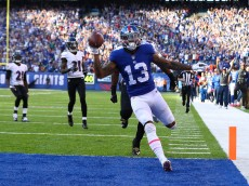 EAST RUTHERFORD, NJ - OCTOBER 16:  Odell Beckham #13 of the New York Giants scores the go ahead touchdown against the Baltimore Ravens in the fourth quarter with the Giants winning 27-23 during their game at MetLife Stadium on October 16, 2016 in East Rutherford, New Jersey.  (Photo by Al Bello/Getty Images)