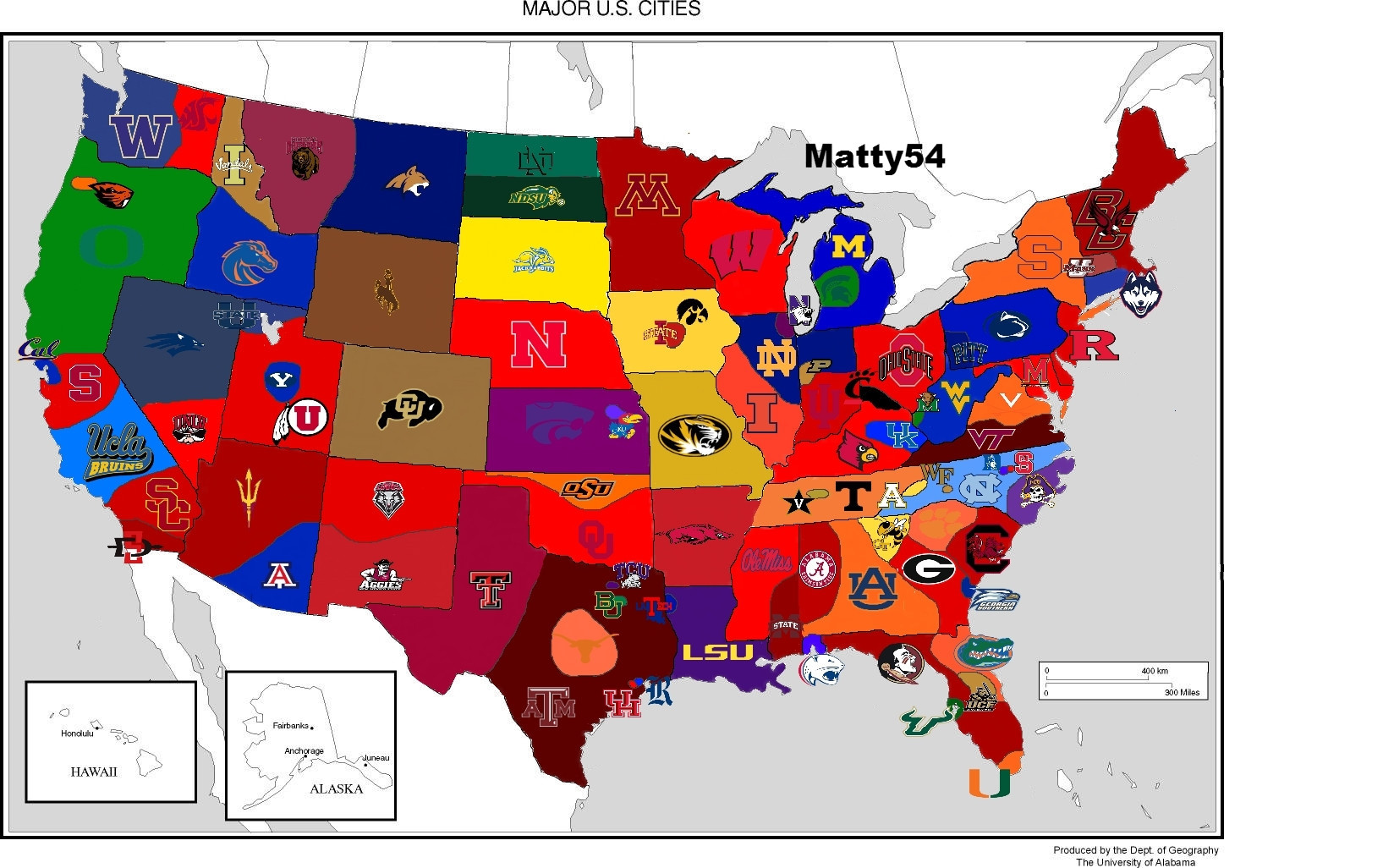 College Football Schedule - Us map of d1 colleges