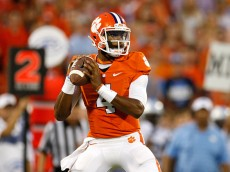 CLEMSON, SC - SEPTEMBER 27: Deshaun Watson #4 of the Clemson Tigers drops back to pass during the game against the North Carolina Tar Heels at Memorial Stadium on September 27, 2014 in Clemson, South Carolina. (Photo by Tyler Smith/Getty Images)