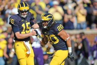 ANN ARBOR MI - OCTOBER 10: Running back Drake Johnson #20 of the Michigan Wolverines scores on a one yard run and is congratuled by teammate Jake Rudock #15 during the first quarter of the game against the Northwestern Wildcats on October 10, 2015 at Michigan Stadium in Ann Arbor, Michigan. (Photo by Leon Halip/Getty Images)