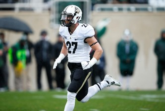 EAST LANSING, MI - OCTOBER 3: Evan Feichter #27 of the Purdue Boilermakers in action against the Michigan State Spartans during a game at Spartan Stadium on October 3, 2015 in East Lansing, Michigan. The Spartans defeated the Boilermakers 24-21. (Photo by Joe Robbins/Getty Images)