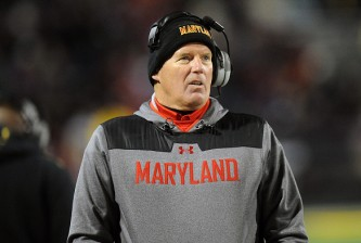 COLLEGE PARK, MD - NOVEMBER 29:  Head coach Randy Edsall of the Maryland Terrapins watches the game against the Rutgers Scarlet Knights at Byrd Stadium on November 29, 2014 in College Park, Maryland.  (Photo by G Fiume/Maryland Terrapins/Getty Images)