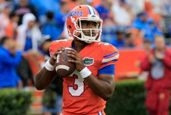 GAINESVILLE, FL - SEPTEMBER 12:  Treon Harris #3 of the Florida Gators warms up before the game at Ben Hill Griffin Stadium on September 12, 2015 in Gainesville, Florida.  (Photo by Sam Greenwood/Getty Images)