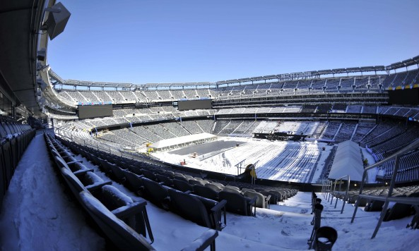 MetLife Stadium Super Bowl Prep Snowy