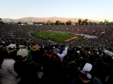 PASADENA, CA - JANUARY 01:  A general view of the College Football Playoff Semifinal between the Oregon Ducks and the Florida State Seminoles at the Rose Bowl Game presented by Northwestern Mutual at the Rose Bowl on January 1, 2015 in Pasadena, California.  (Photo by Kevork Djansezian/Getty Images)