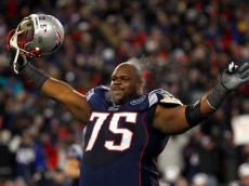 FOXBORO, MA - JANUARY 22:   Vince Wilfork #75 of the New England Patriots celebrates after defeating the Baltimore Ravens in the AFC Championship Game at Gillette Stadium on January 22, 2012 in Foxboro, Massachusetts. The New England Patriots defeated the Baltimore Ravens 20-23.  (Photo by Al Bello/Getty Images)