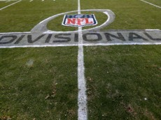 CHARLOTTE, NC - JANUARY 12: A general view of the NFL Divisional playoff logo on the field during the NFC Divisional Playoff Game between the San Francisco 49ers and Carolina Panthers at Bank of America Stadium on January 12, 2014 in Charlotte, North Carolina.  (Photo by Ronald Martinez/Getty Images)