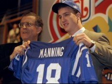 18 Apr 1998:  Quarterback Peyton Manning displays an Indianapolis Colts jersey during the NFL draft at Madison Square Garden in New York City, New York. Mandatory Credit: Ezra O. Shaw  /Allsport