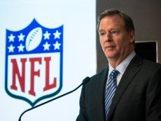 NEW YORK, NY - JANUARY 23:  Commissioner of the National Football League (NFL), Roger Goodell, speaks at a press conference announcing the 16 winners of the first round of the $20M Head Health Challenge, a research grant created by the NFL and General Electric to better study and treat traumatic brain injuries, on January 23, 2014 in New York City. Each winner will receive $300,000, with a possible $500,000 more available for six winners of the second round of the challenge, which will be announced in 2015.  (Photo by Andrew Burton/Getty Images)