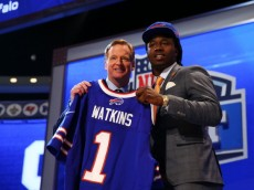 NEW YORK, NY - MAY 08:  Sammy Watkins of the Clemson Tigers poses with NFL Commissioner Roger Goodell after he was picked #4 overall by the Buffalo Bills during the first round of the 2014 NFL Draft at Radio City Music Hall on May 8, 2014 in New York City.  (Photo by Elsa/Getty Images)