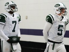 BALTIMORE, MD - NOVEMBER 24: Quarterback Matt Simms #5 of the New York Jets and quarterback Geno Smith take the field for warmups before playing the Baltimore Ravens at M&T Bank Stadium on November 24, 2013 in Baltimore, Maryland. (Photo by Patrick Smith/Getty Images)
