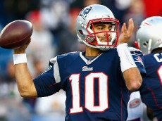 FOXBORO, MA - DECEMBER 28:  Jimmy Garoppolo #10 of the New England Patriots passes the ball during the fourth quarter against the Buffalo Bills at Gillette Stadium on December 28, 2014 in Foxboro, Massachusetts.  (Photo by Jared Wickerham/Getty Images)