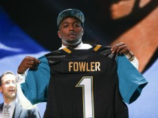 CHICAGO, IL - APRIL 30:  Dante Fowler Jr. of the Florida Gators holds up a jersey after being chosen #3 overall by the Jacksonville Jaguars during the first round of the 2015 NFL Draft at the Auditorium Theatre of Roosevelt University on April 30, 2015 in Chicago, Illinois.  (Photo by Jonathan Daniel/Getty Images)
