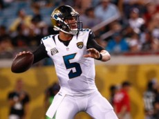 JACKSONVILLE, FL - AUGUST 08: Blake Bortles #5 of the Jacksonville Jaguars sets to throw during the first half of the preseason game against the Tampa Bay Buccaneers at Everbank Field on August 8, 2014 in Jacksonville, Florida.  (Photo by Rob Foldy/Getty Images)