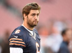 CLEVELAND, OH - AUGUST 28:  Jay Cutler #6 of the Chicago Bears looks on during warmups prior to the preseason game against the Cleveland Browns at FirstEnergy Stadium on August 28, 2014 in Cleveland, Ohio.  (Photo by Joe Sargent/Getty Images)
