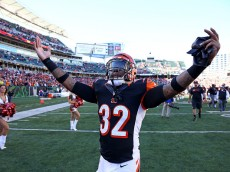CINCINNATI, OH - OCTOBER 26 :  Jeremy Hill #32 of the Cincinnati Bengals celebrates as he walks off of the field after defeating the Baltimore Ravens 27-24 at Paul Brown Stadium on October 26, 2014 in Cincinnati, Ohio. (Photo by Andy Lyons/Getty Images)