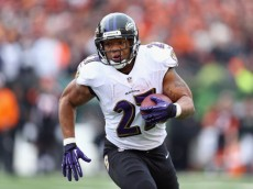 CINCINNATI, OH - DECEMBER 29:  Ray Rice #27 of the Baltimore Ravens runs with the ball during the NFL game against the Cincinnati Bengals at Paul Brown Stadium on December 29, 2013 in Cincinnati, Ohio.  (Photo by Andy Lyons/Getty Images)