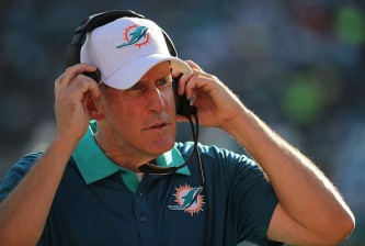 JACKSONVILLE, FL - SEPTEMBER 20:  Head coach Joe Philbin of the Miami Dolphins looks on during a game against the Jacksonville Jaguars at EverBank Field on September 20, 2015 in Jacksonville, Florida.  (Photo by Mike Ehrmann/Getty Images)