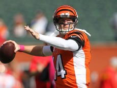 CINCINNATI, OH - OCTOBER 4:  Andy Dalton #14 of the Cincinnati Bengals warms up prior to the start of the game against the Kansas City Chiefs at Paul Brown Stadium on October 4, 2015 in Cincinnati, Ohio. (Photo by John Grieshop/Getty Images)
