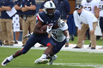UConn's Tyraiq Beals (2) during the UConn Huskies vs Navy Midshipmen football game at Pratt & Whitney Stadium at Rentschler Field in East Hartford, CT on September 26, 2015.