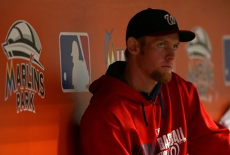 MIAMI, FL - SEPTEMBER 18:  Stephen Strasburg #37 of the Washington Nationals looks on during a game against the Miami Marlins at Marlins Park on September 18, 2014 in Miami, Florida.  (Photo by Mike Ehrmann/Getty Images)
