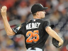 WASHINGTON, DC - SEPTEMBER 26:  Andrew Heaney #25 of the Miami Marlins pitches in the second during game two of a doubleheader baseball game against the Washington Nationals on September 26, 2014 at Nationals Park in Washington, DC.  (Photo by Mitchell Layton/Getty Images)